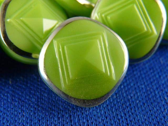 """Vintage Gorgeous Glass Buttons - ( 10 pcs ) - 13mm - 1/2"""" - 0457"""