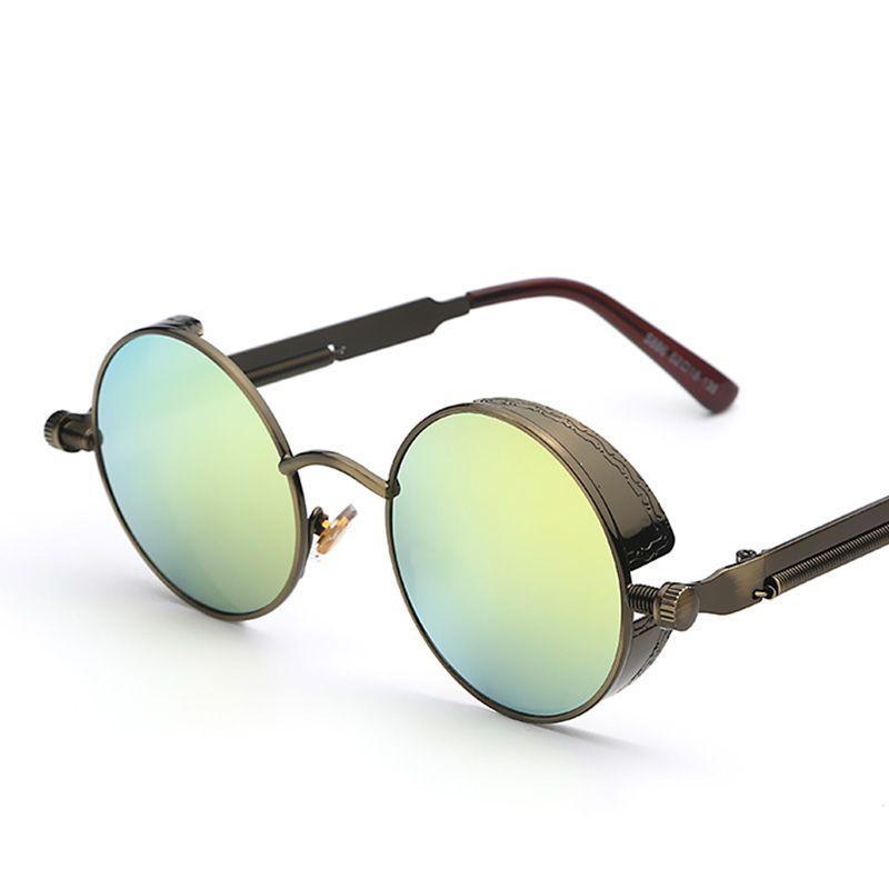 3d58be47db Gothic Steampunk Round Sunglasses men Coating Mirrored Sunglasses Round  Circle Sun glasses Retro Vintage Gafas Masculino Sol
