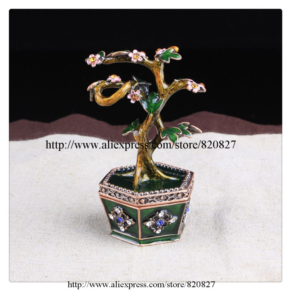 Bonsai Blossom Tree Trinket Box Ring Jewelry Keepsake Box Tree