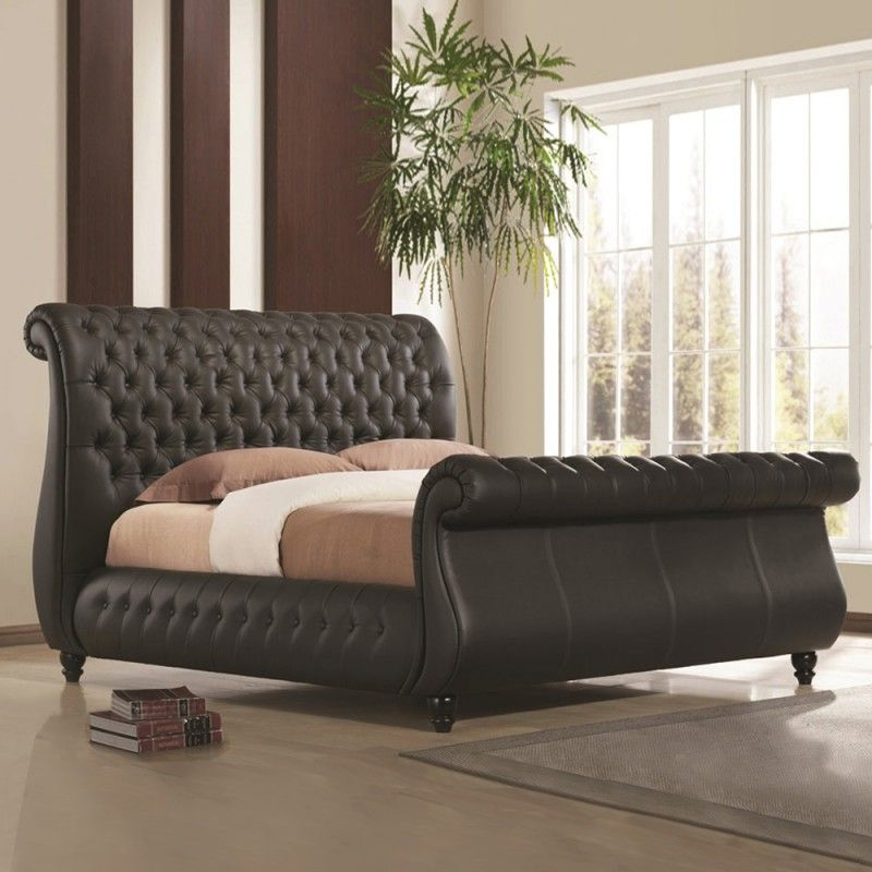 Time Living Swan Super King 6ft Black Real Leather Bed #tuscan ...