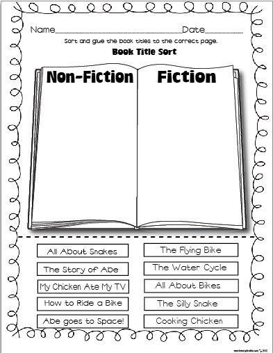 Image Result For Fiction Vs Nonfiction Worksheet Nonfiction