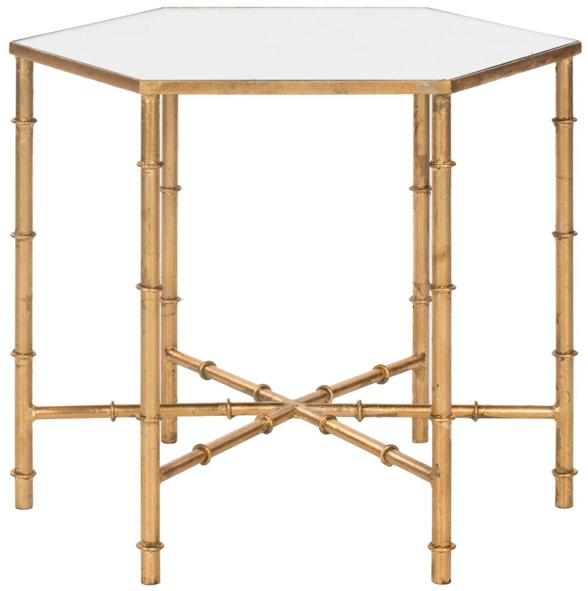 Chinoiserie Accent Table With Gold Leaf Bambo Base U0026 Mirrored Top