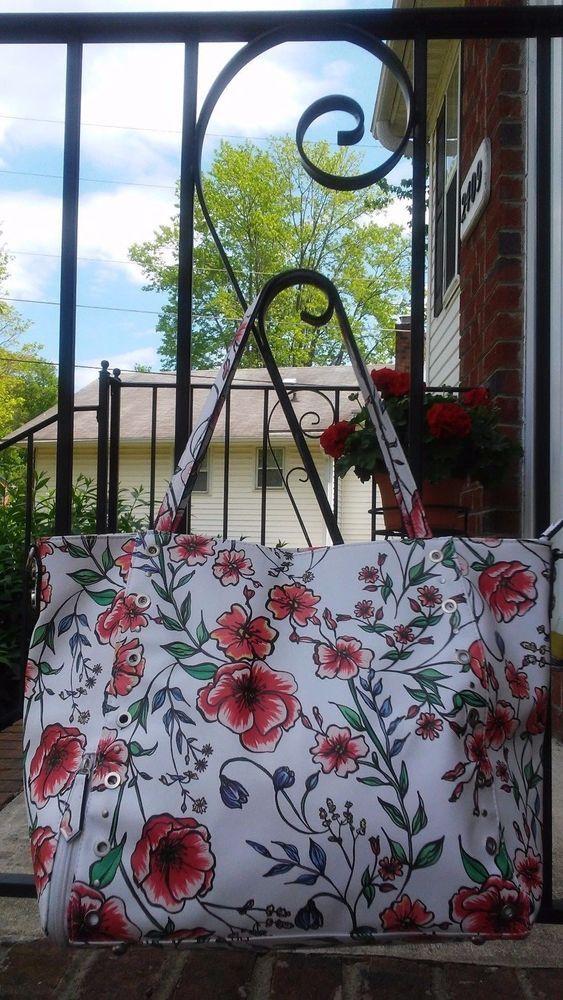 7791e9c3e Sam & Libby Faux Leather Large Floral Print Tote Shopper Shoulder Bag Purse  EUC #SamLibby