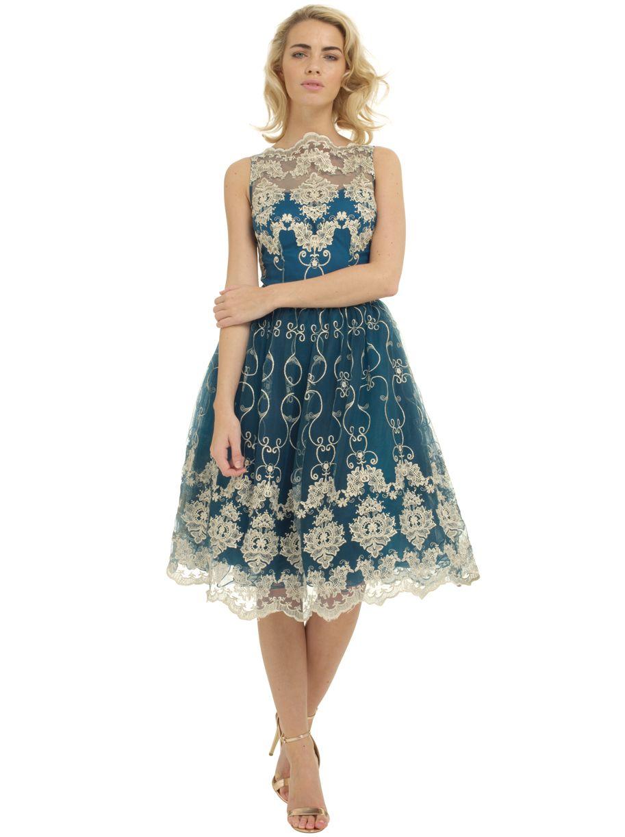 066c263e4a18 Chi Chi London Bette Sukienka Wieczorowa Midi Haftowana Luxyou