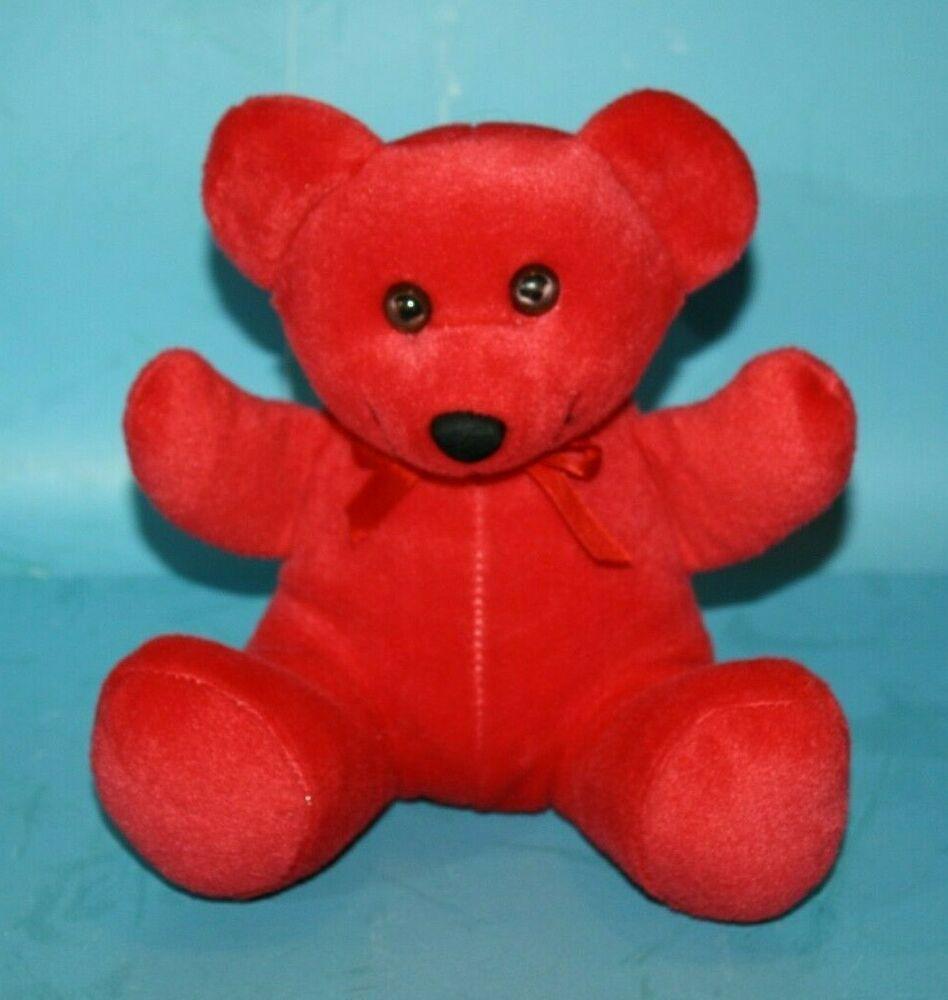 Small Red Short Plush Teddy Bear 7 Sits Soft Toy Stuffed Black Flocked Nose Bow Ebay Teddy Bear Stuffed Animal Teddy Bear Teddy Bear Plush [ 1000 x 948 Pixel ]