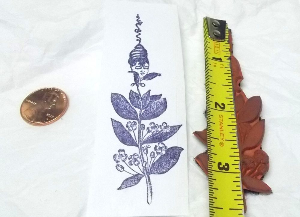 Zettiology Flower rubber stamp ladies face Stems leaves Teesha Moore art stamps
