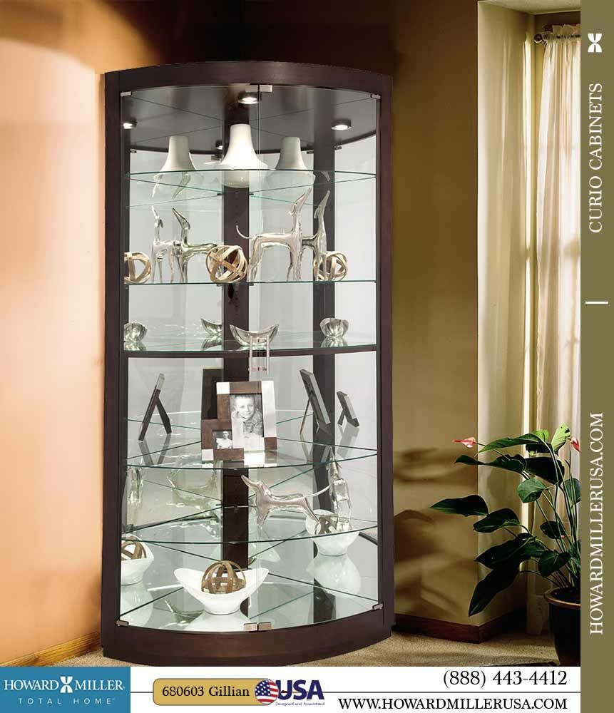 Curved Front Glass Doors Feature Satin Nickel Finished Bar Pulls And Hinges Glass Curio Cabinets Glass Cabinet Doors Curved Glass