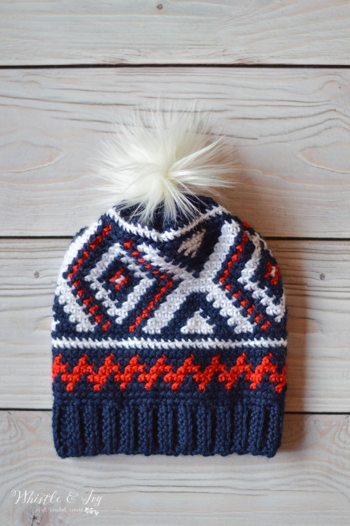 Crochet Neva Hat (Crochet Olympics Team Hat)   This pretty hat is my  version of the the Team USA Olympic Hats! The color work is easier than you  think and ... cb0e7c56cbb