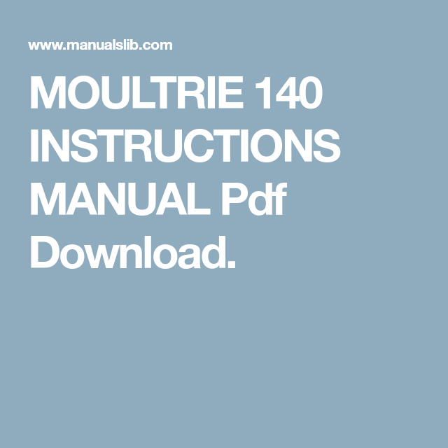 Moultrie 140 Instructions Manual Pdf Download Pdf Download Manual Instruction