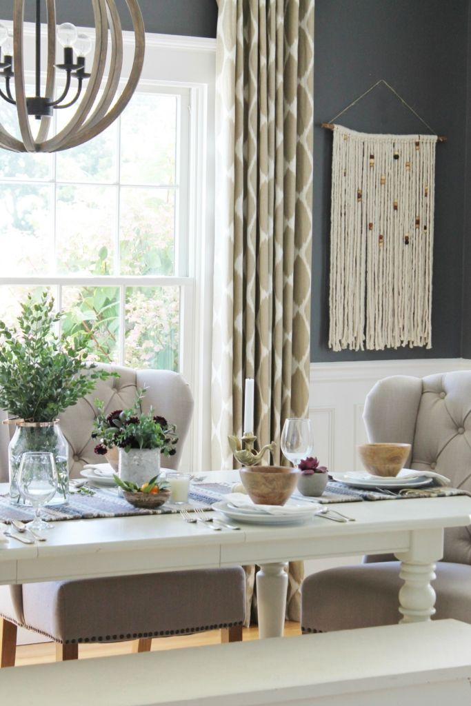 Rustic Modern Fall Dining Room + Tablescape | Big living ...