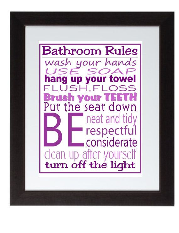 purple bathroom rules wall art poster 8x10 digital art download rh pinterest com