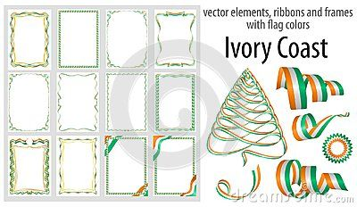 vector elements ribbons and frames with flag colors ivory coast