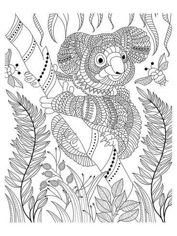 Coloring Poster Koala Bee And Bamboo Coloring Art By Anonymous