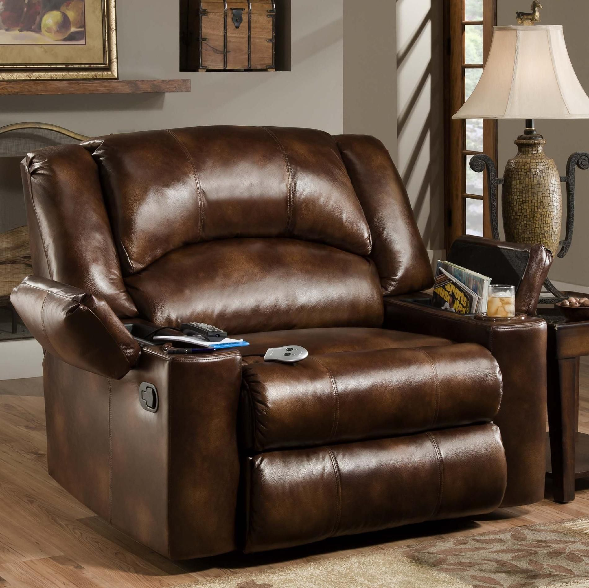 simmons encore bonded leather oversized downtime lounger recliners at hayneedle