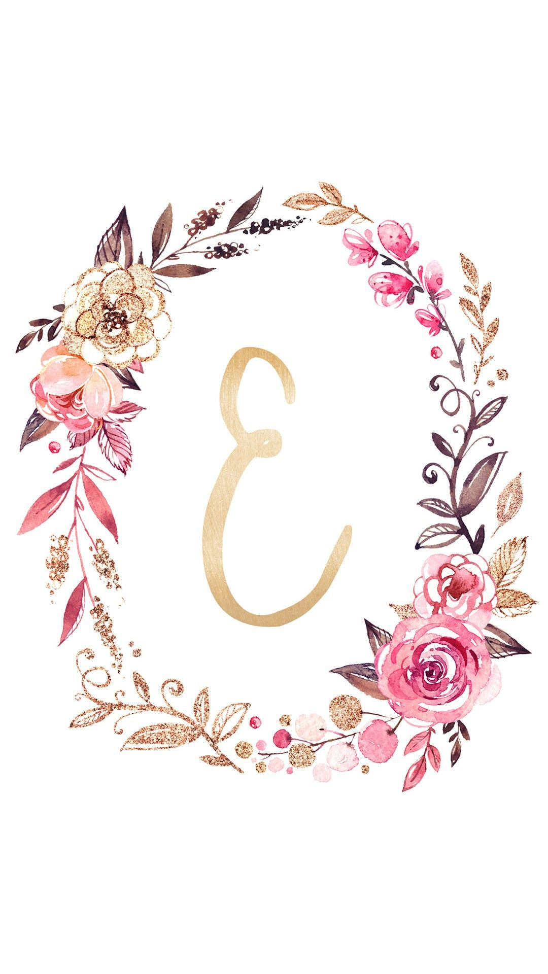 Monogram Letter E Cicekli Desenler Harfleme Monogram
