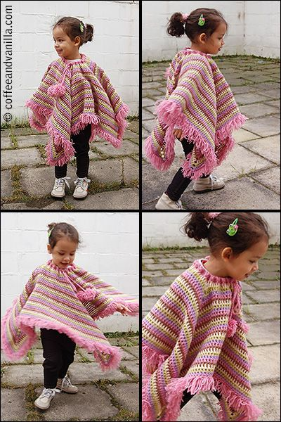 Extremely Easy Kids\' Crochet Poncho with Tear Drop Corner Pattern
