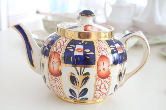 Replacement China Vintage Burlem ca TEAPOT Teapot by Sudlow/'s Handpainted England 1930s Gaudy Welsh Design Pottery