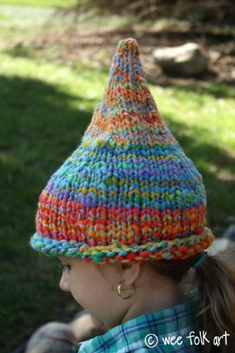 Child Rainbow Gnomes Hats Easy Chunky Knitting Pattern 4-12 yrs