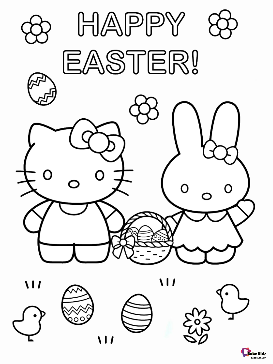 Happy Easter Hello Kitty And Easter Bunny Easter Eggs Coloring Page Collection Of Hello Kitty Co Hello Kitty Coloring Kitty Coloring Easter Egg Coloring Pages