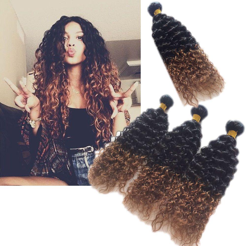 5bundles Brazilian Human Hair Extension Curly Wave Ombre Hair 1b30