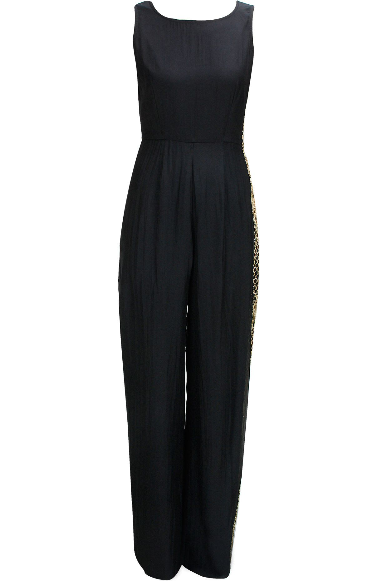 Black embroidered jumpsuit with atttaced drape available only at