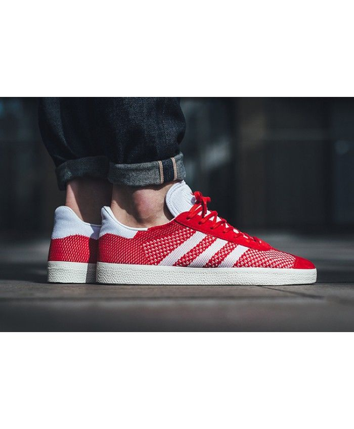 ... hot product c5190 a8fb1 Mens Adidas Gazelle Primeknit Red White Trainer  ... e7c5c32620