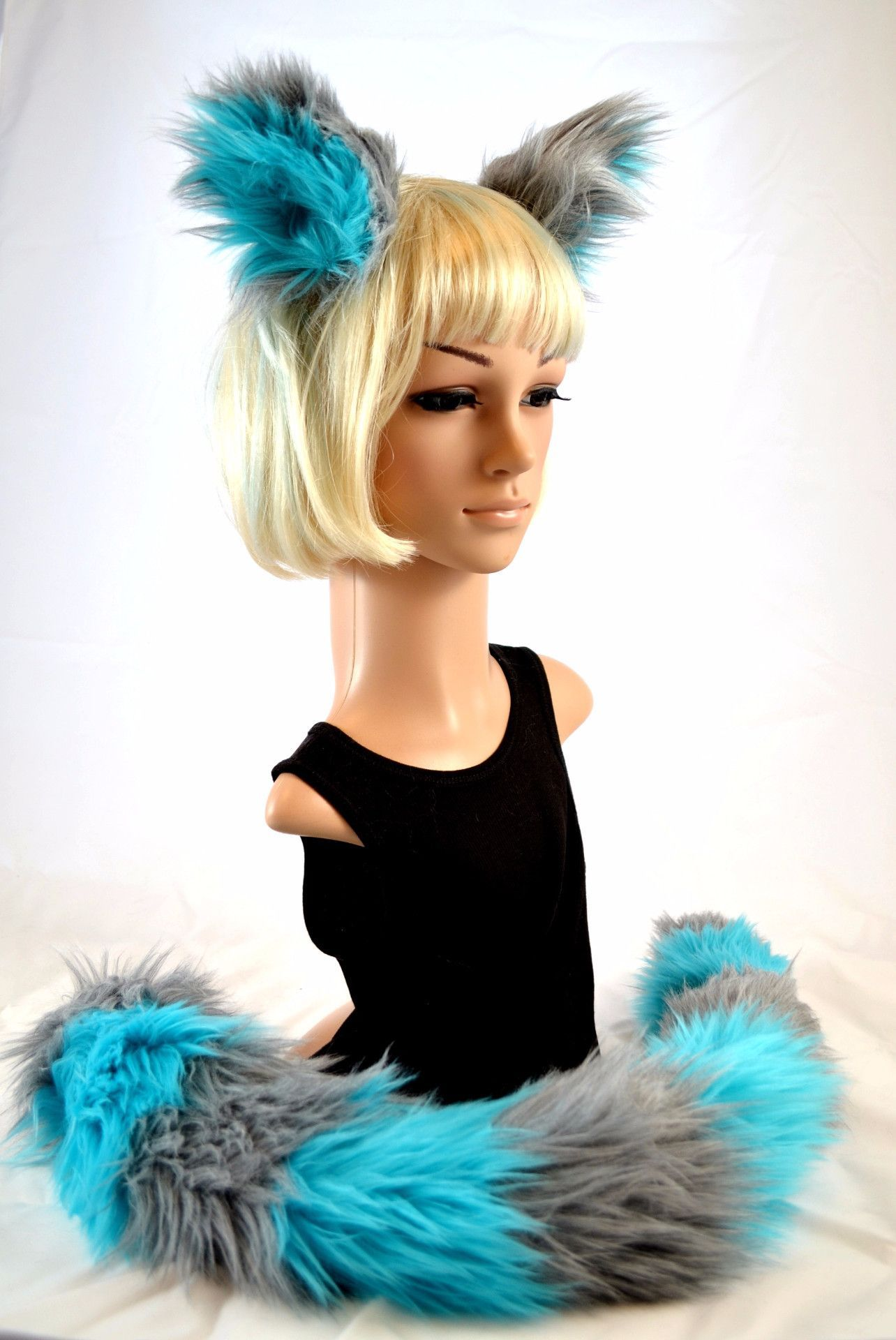 Cat Ear Tail Clip On Faux Fur Set in Blue and Gray