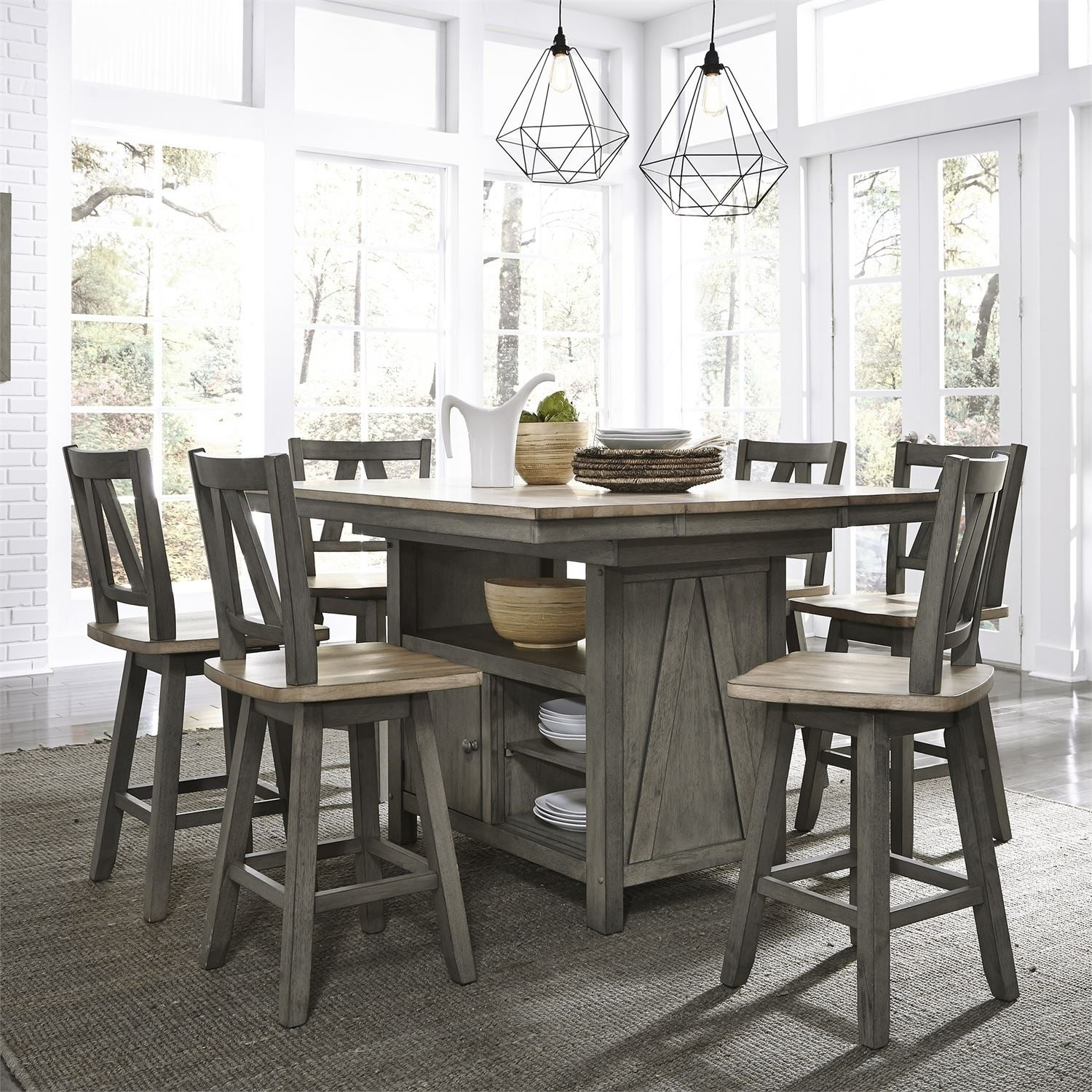 Lindsey Farm Grey and Sandstone 9 piece Gathering Table Set, Brown ...
