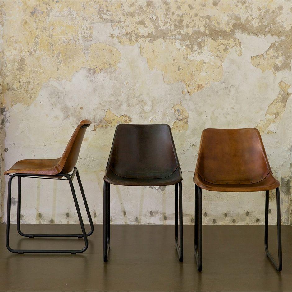 Stoel retro leer combinatie van materialen en vormen for Eettafel stoel leer