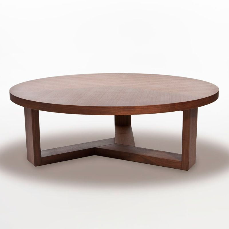 L07101 Tan Walnut Round Coffee Table Modern