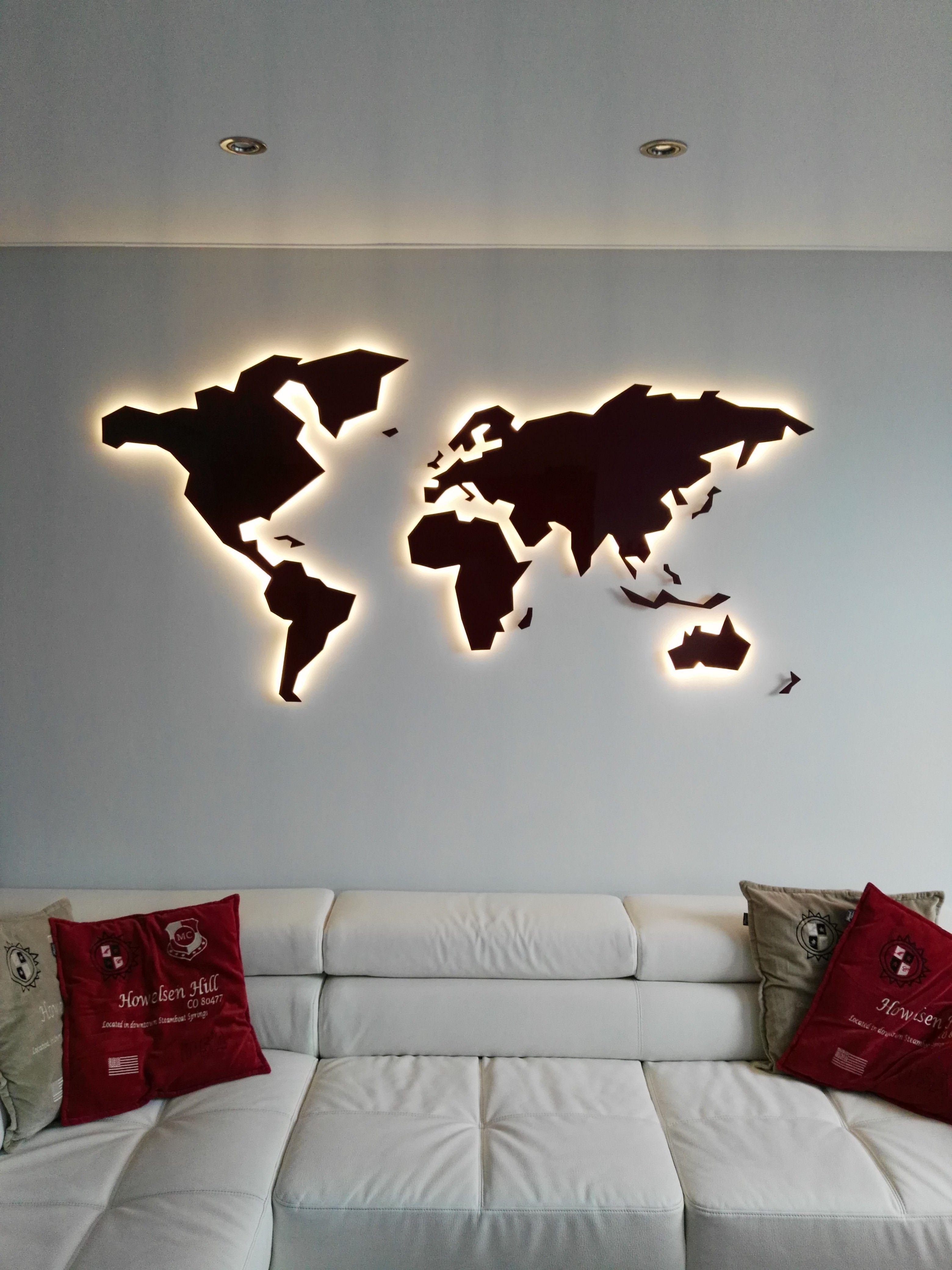 Wall Art In Steel Geomundi World Maps Made In Atelier