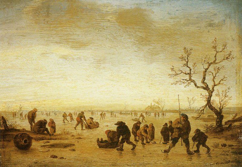 Isaac van Ostade - IJsgezicht met schaatsers