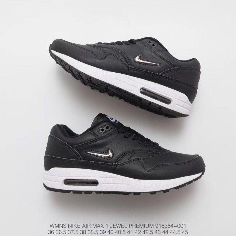 ada8804d9518 Nike Air Max 1 Jewel Premium Classic Retro Air Racing Shoes Black ...
