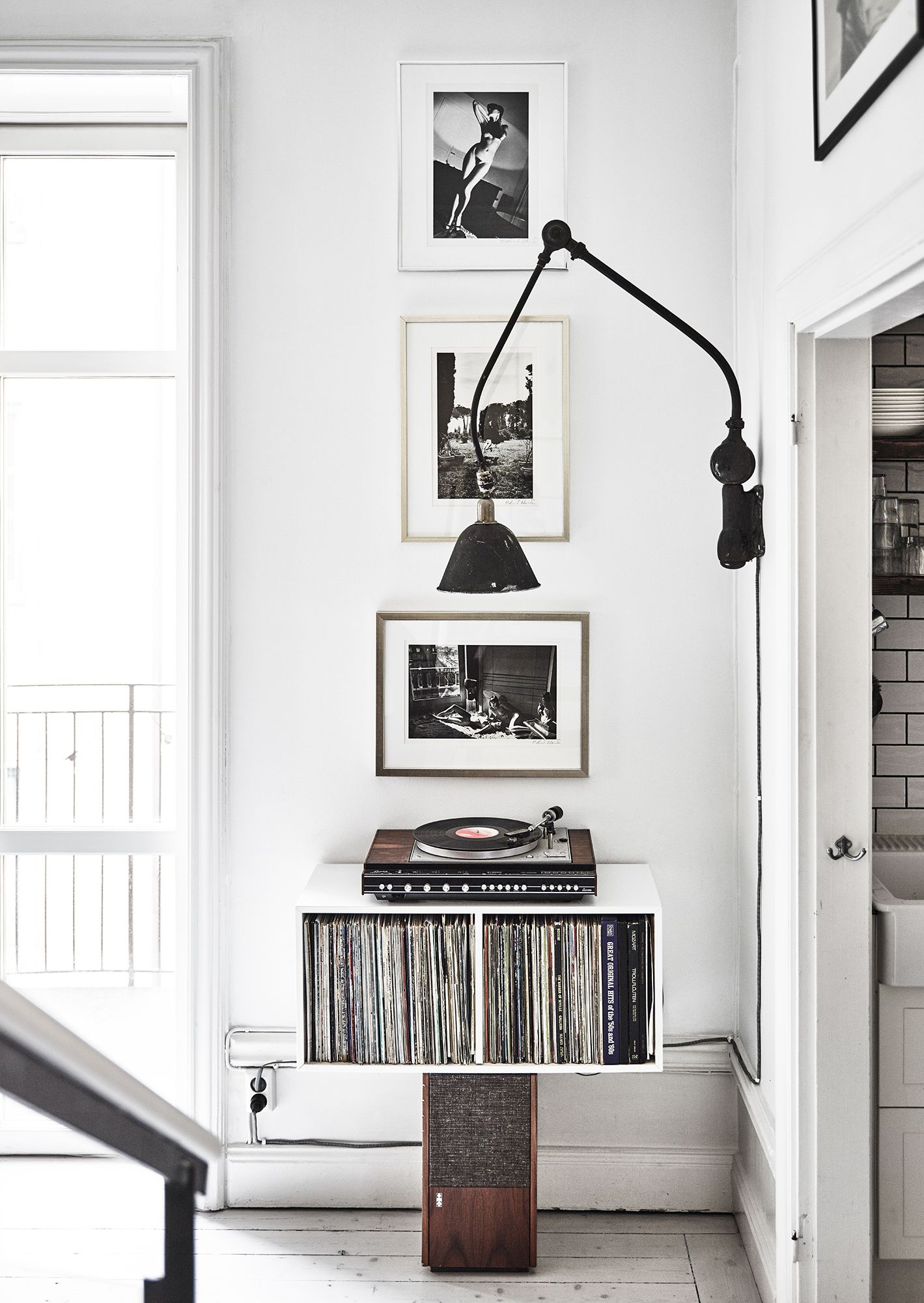 scandinavian black and white style with record storage | Fresh ...