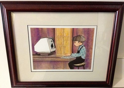 A picture hung when I was 14 -- 27 years ago. It seems P. Buckley Moss was prescient regarding the cat's role on the coming Internet.