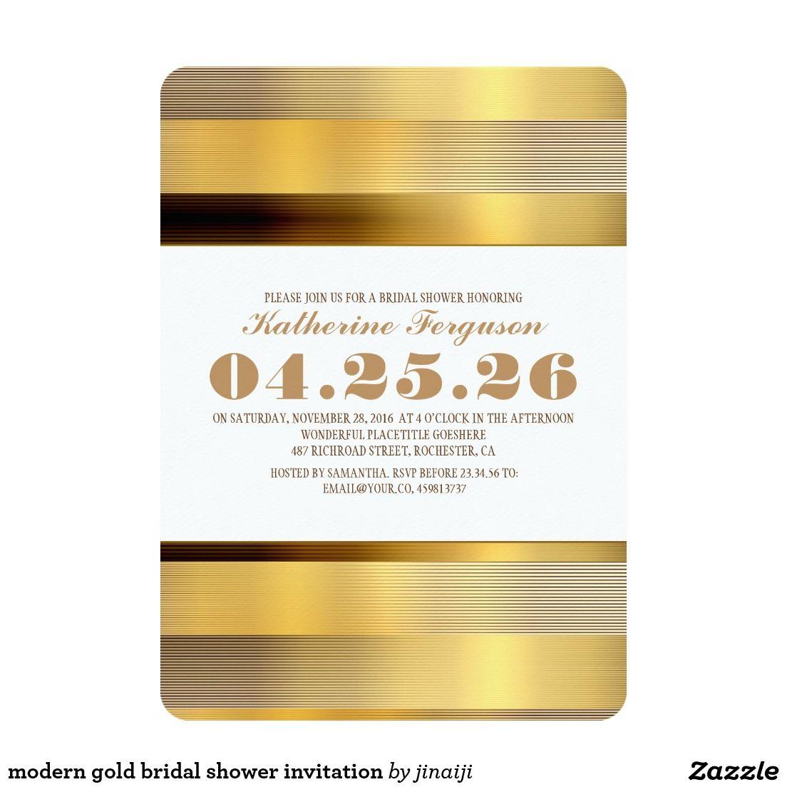 "modern gold bridal shower invitation 5"" x 7"" invitation card"