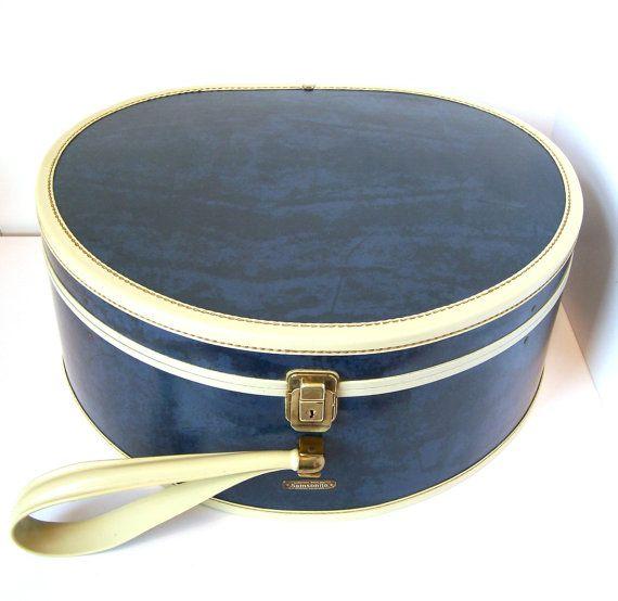 Rare Samsonite Admiral Blue Hat Case By Shwayder Brothers Blue Hat Vintage Suitcases Vintage Luggage
