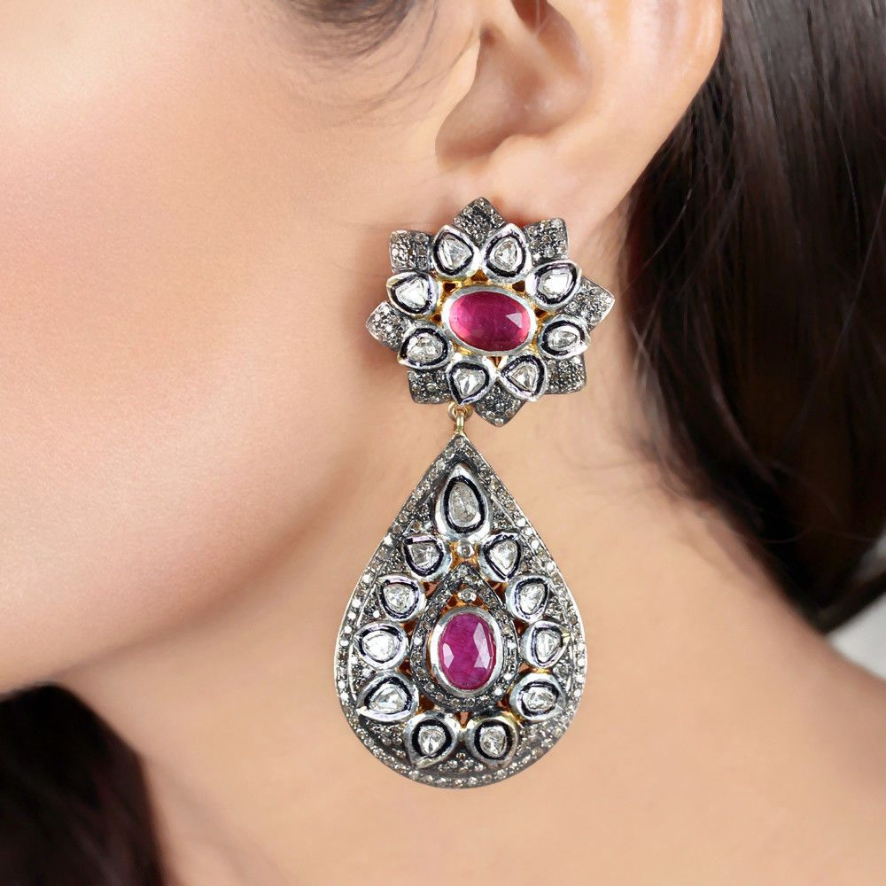 Christmas Sale Wedding Earring Rose cut Diamond Earring Diamond Earring Pave Diamond Earring Anniversary Gift 925 Sterling Silver