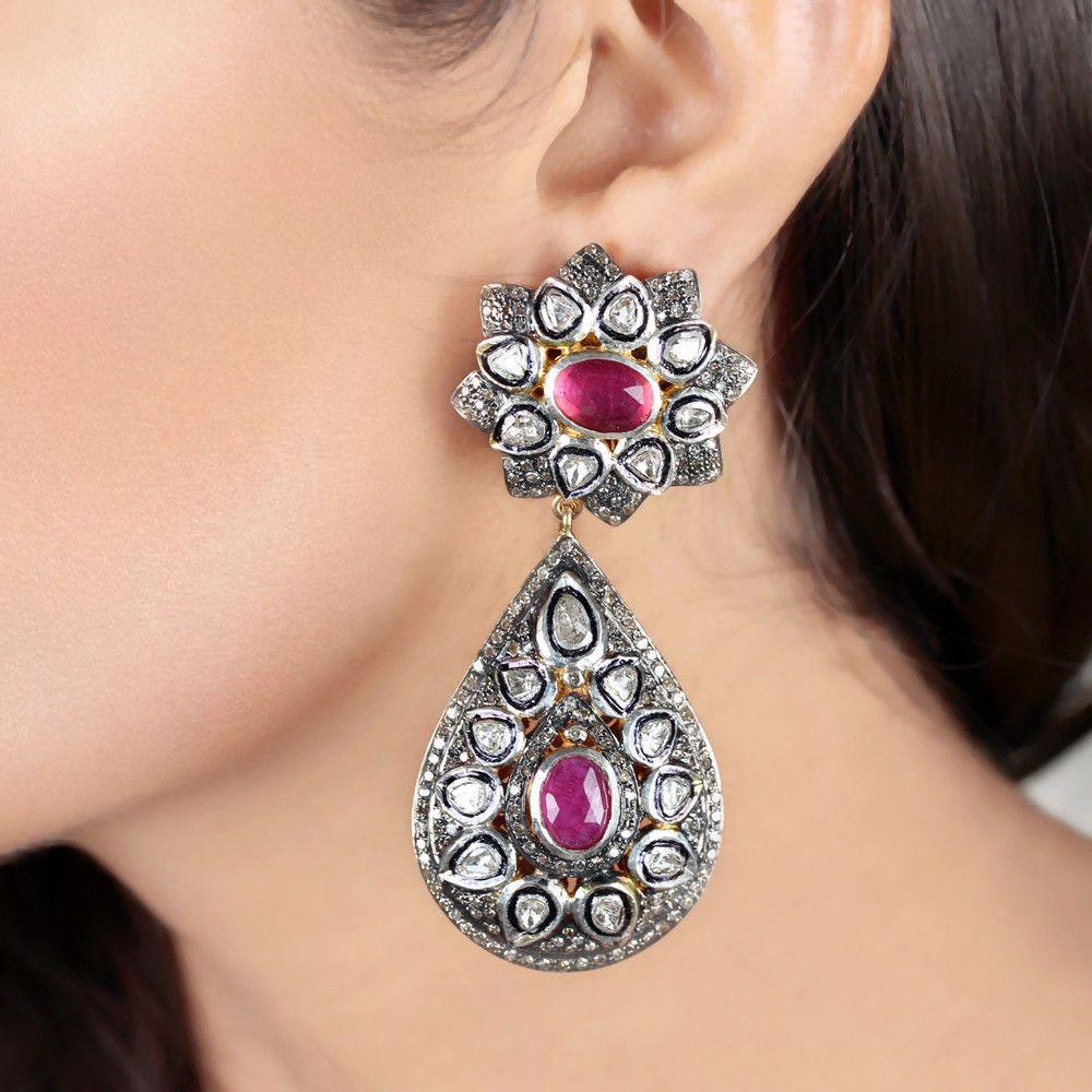 b7e5d7b0d43d6 Rose Cut Polki Diamond Dangle Earrings Gemstone Ruby Victorian Look ...