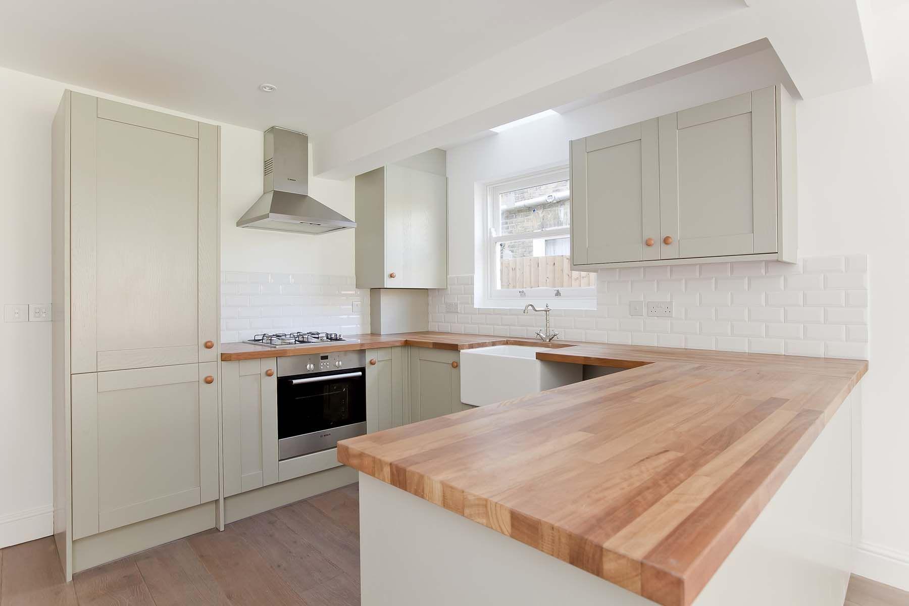 Olive kitchen with butler sink and Iroko worktop. | Kitchen Design ...