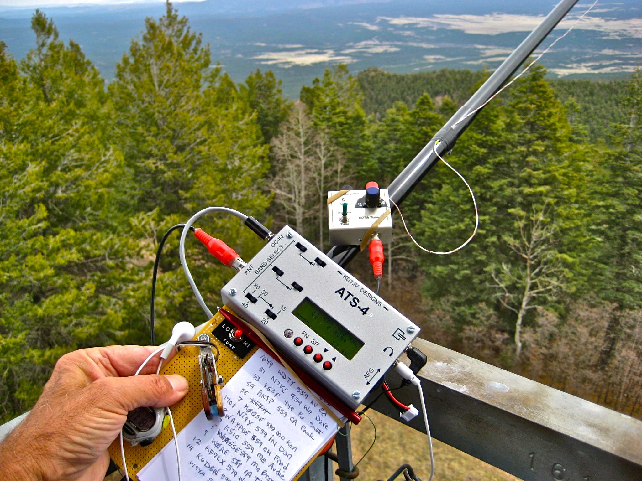 My Friend Fred Kt5xs Sota Station Ats4 And Home Made Paddles With Fm Transmitter Circuit 9 Telephone Stripboard Antenna Efhw Operating From A Fire Tower In Az Qrp Ham Radio Amateur