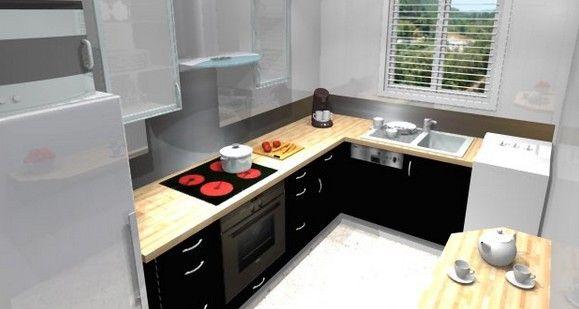 Petite cuisine quip e avec l 39 vier sous la fen tre for Modele de cuisine amenagee