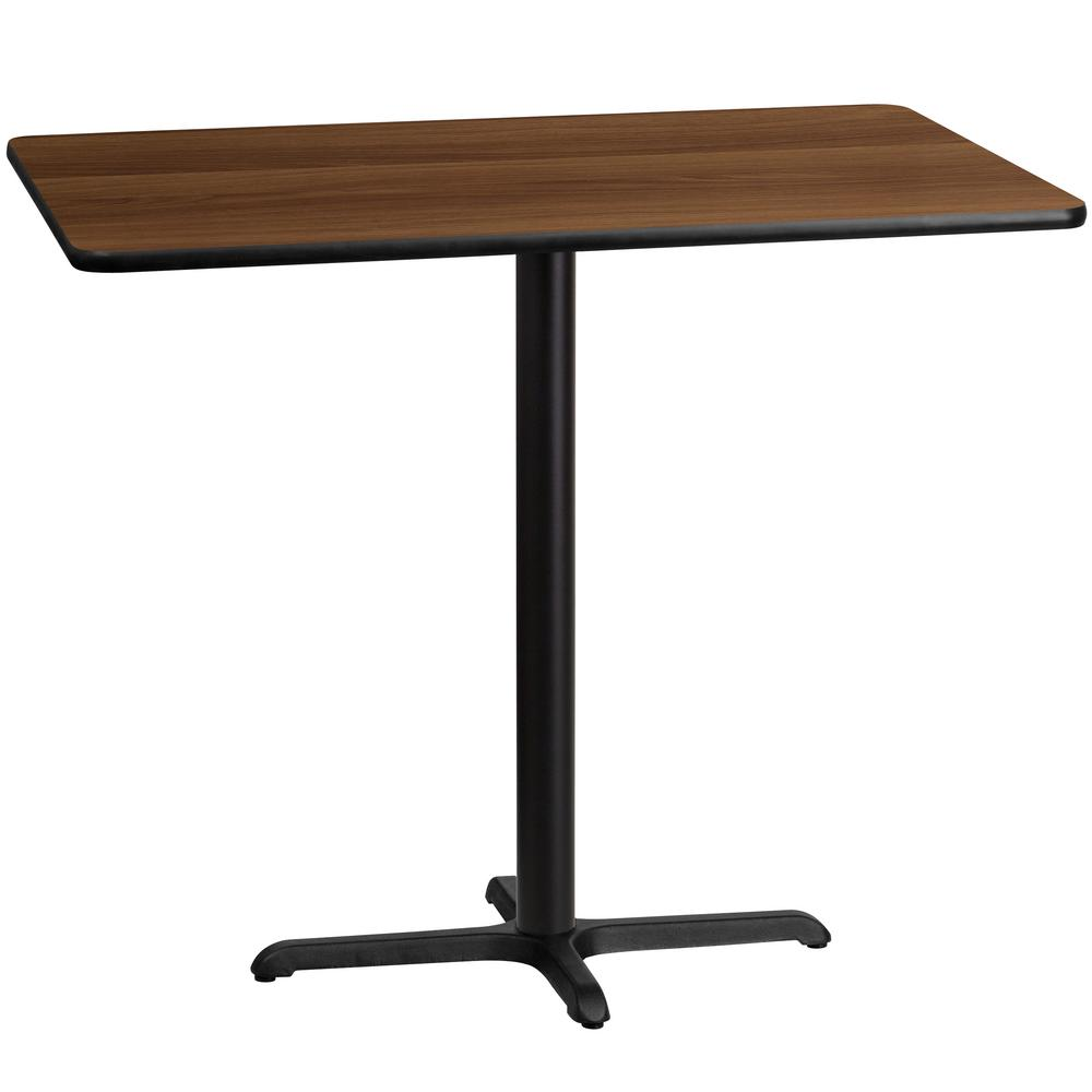 30'' x 48'' Rectangular Walnut Laminate Table Top with 22'' x 30'' Bar Height Table Base, Black/Brown