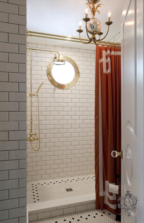 Orange Greek Key Shower Curtain Contemporary Bathroom Window