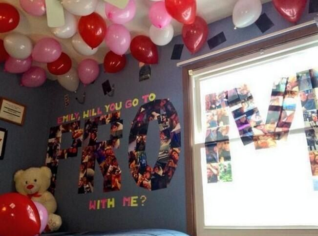 He spelt out prom with pictures of him and his girlfriend. Cute prom proposal!
