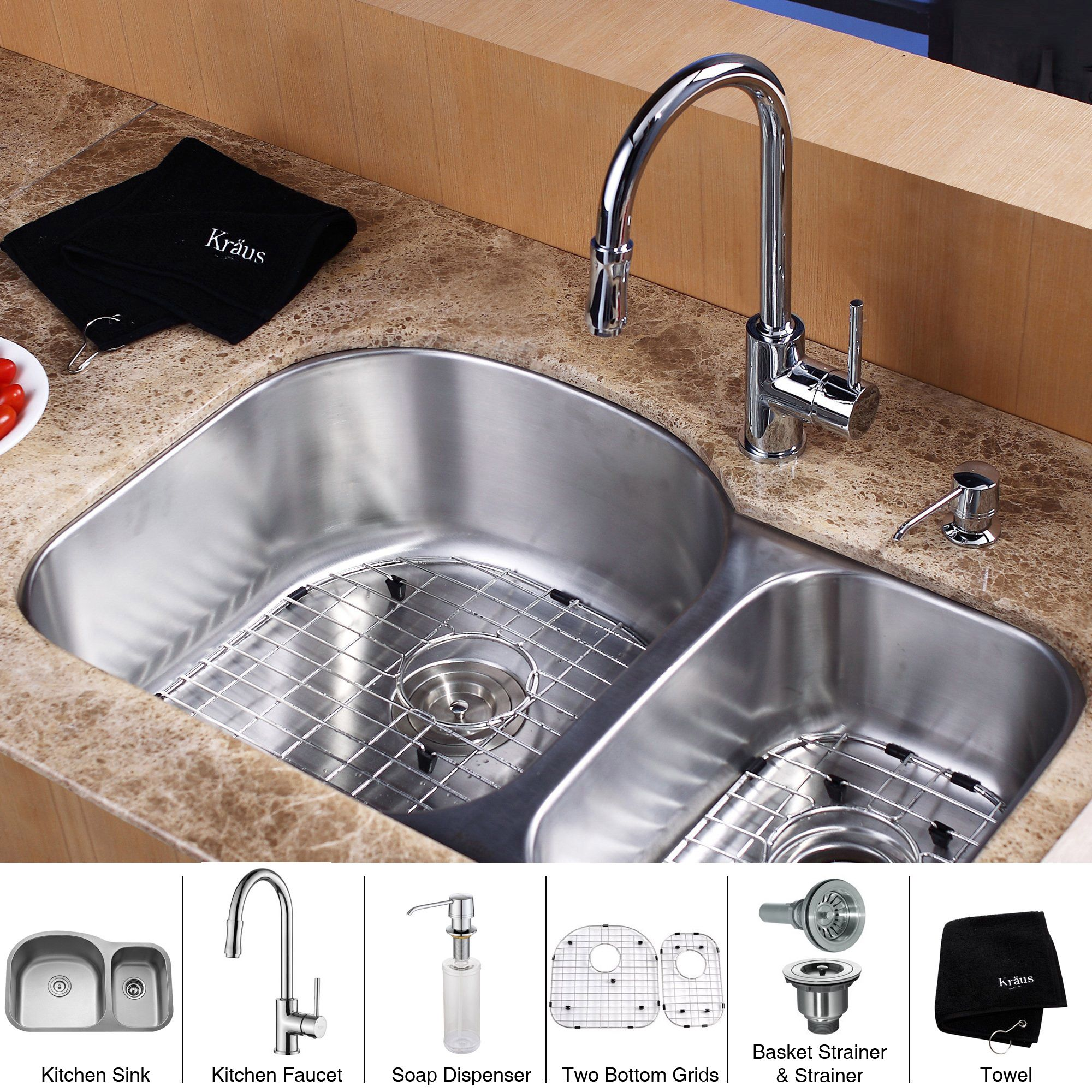 Kraus 32 Inch Undermount Double Bowl Stainless Steel Silver