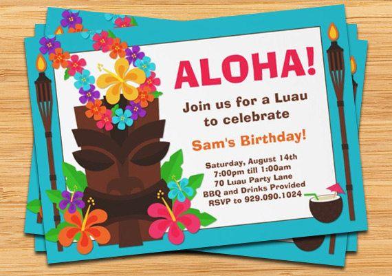 luau party invitation in 2018 birthday party ideas pinterest