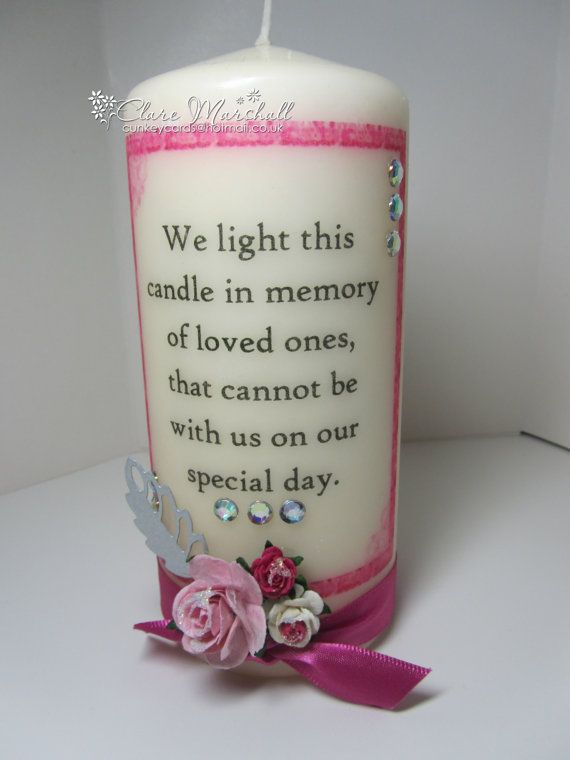 Wedding Memorial Candle By Handmadebyclarex On Etsy