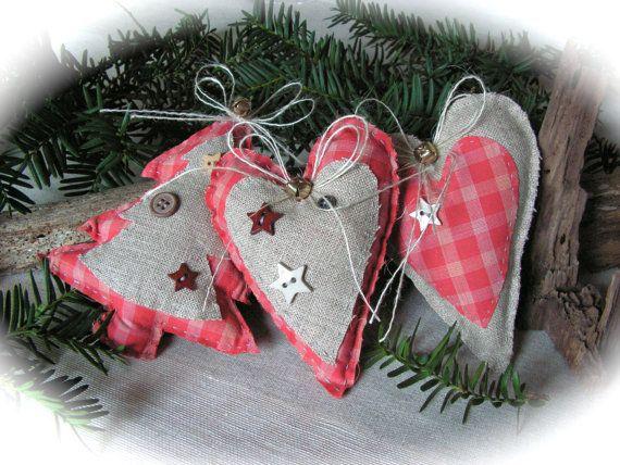 Christmas Ornament , Rustic Linen Ornament - set of 3.