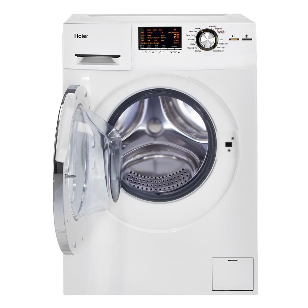 Haier 2 0 Cu Ft White 120 Volt Ventless Electric All In One Washer Dryer Combo Hlc1700axw The Home Depot In 2020 Washer Dryer Combo Combination Washer Dryer Washer And Dryer